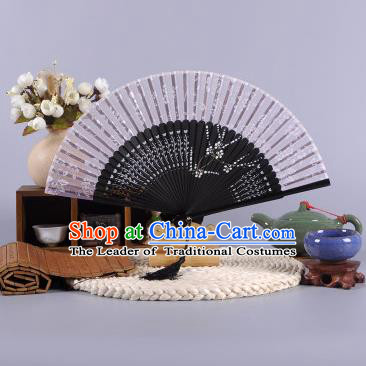 Traditional Chinese Crafts Hand Painted Wintersweet Grey Silk Folding Fan China Oriental Fans for Women
