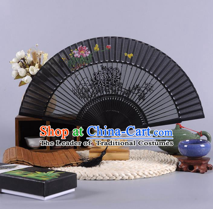 Traditional Chinese Crafts Hollow Out Peony Folding Fan China Oriental Black Bamboo Fans for Women