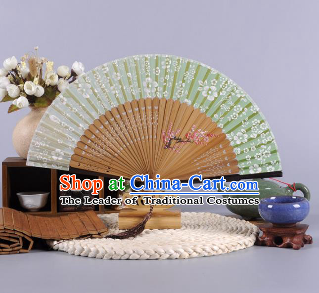 Traditional Chinese Crafts Hand Painted Plum Blossom Green Silk Folding Fan China Oriental Fans for Women