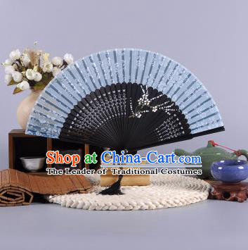 Traditional Chinese Crafts Hand Painted Plum Blossom Blue Silk Folding Fan China Oriental Fans for Women