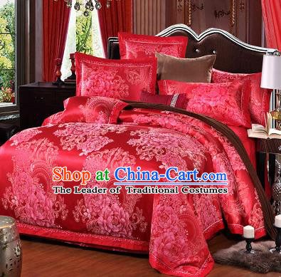 Traditional Chinese Wedding Red Satin Qulit Cover Printing Peony Bedding Sheet Four-piece Duvet Cover Textile Complete Set
