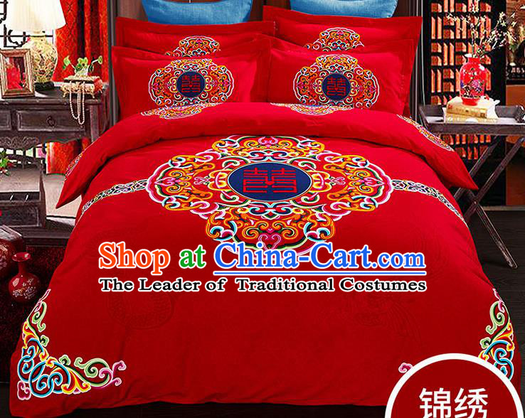 Traditional Chinese Wedding Red Qulit Cover Printing Bedding Sheet Four-piece Duvet Cover Textile Complete Set