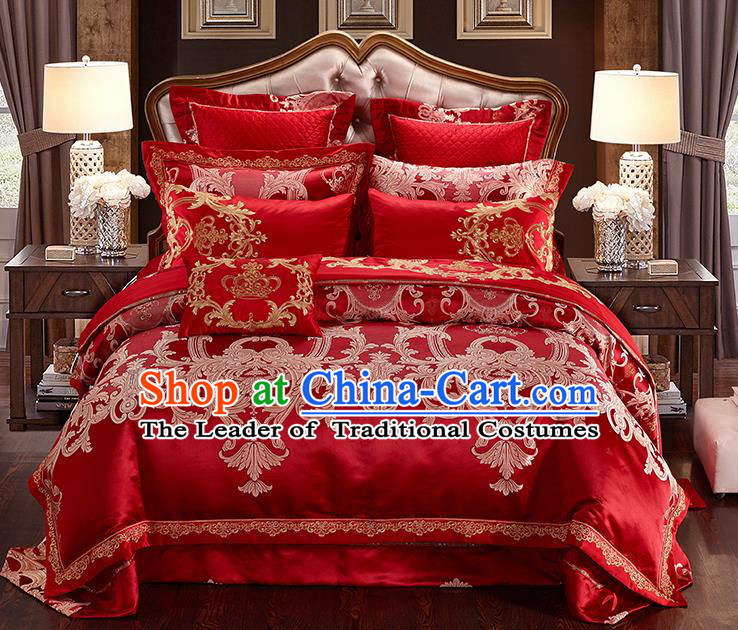 Traditional Asian Chinese Wedding Red Satin Palace Qulit Cover Embroidered Bedding Sheet Ten-piece Duvet Cover Textile Complete Set