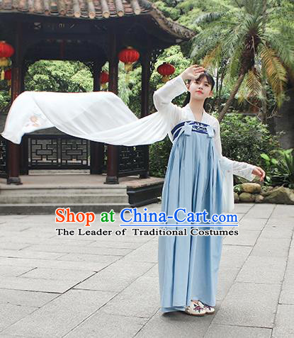 Traditional Chinese Ancient Tang Dynasty Palace Princess Hanfu Embroidered Costume for Women