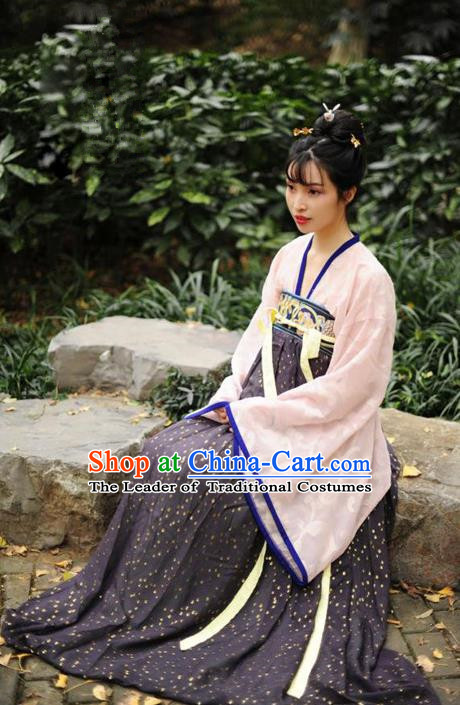 Traditional Chinese Tang Dynasty Court Maid Dress Clothing Ancient Princess Hanfu Embroidered Costume for Women