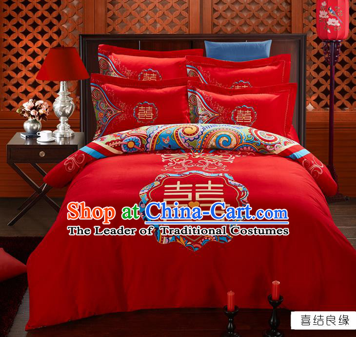 Traditional Chinese Wedding Printing Xi Character Red Four-piece Bedclothes Duvet Cover Textile Qulit Cover Bedding Sheet Complete Set