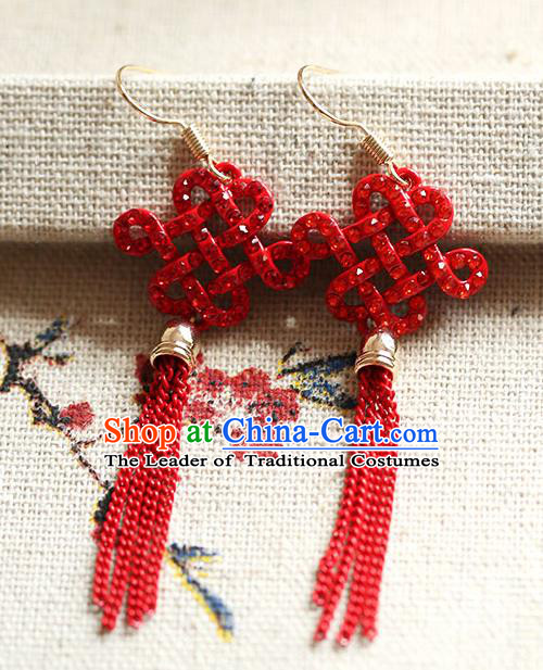Chinese Traditional Bride Jewelry Accessories Princess Wedding Xiuhe Suit Red Chinese Knots Tassel Earrings for Women
