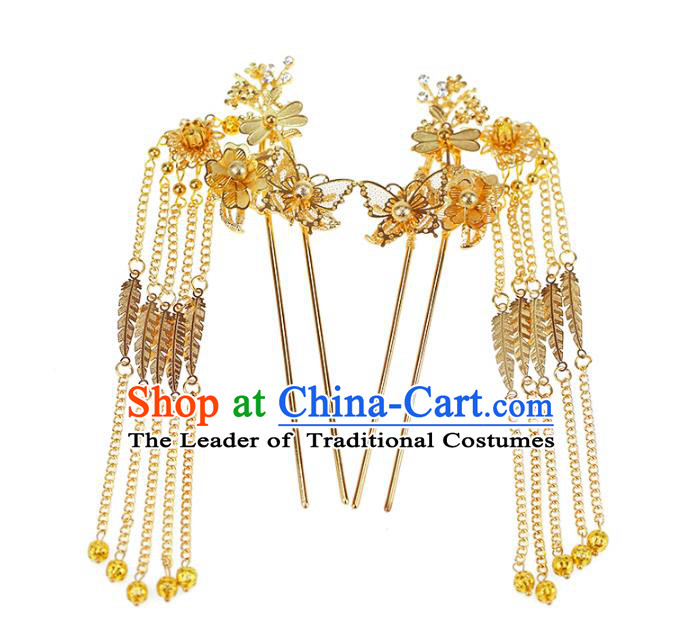 Chinese Traditional Bride Hair Jewelry Accessories Wedding Xiuhe Suit Hairpins Tassel Step Shake Headwear for Women
