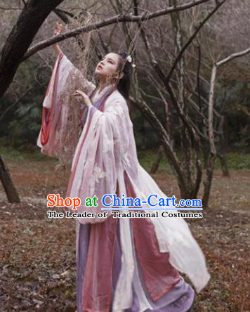 Traditional Chinese Jin Dynasty Palace Lady Dress Clothing Ancient Princess Hanfu Embroidered Costume for Women