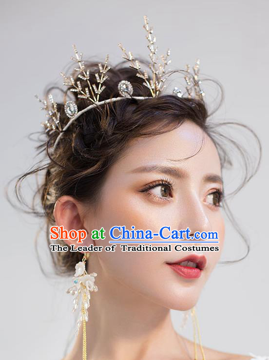 Chinese Traditional Bride Hair Accessories Baroque Princess Hair Clasp Wedding Crystal Royal Crown for Women