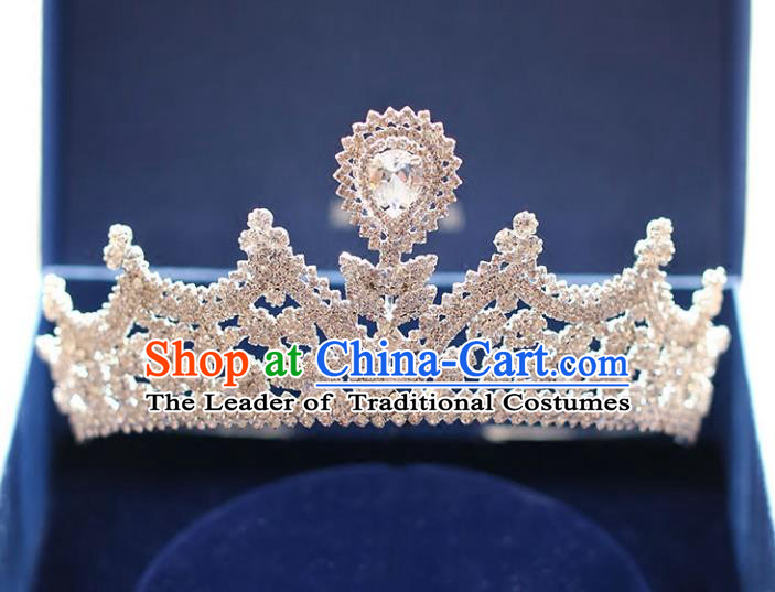 Chinese Traditional Hair Accessories Baroque Bride Hair Clasp Wedding Princess Extravagant Crystal Royal Crown for Women