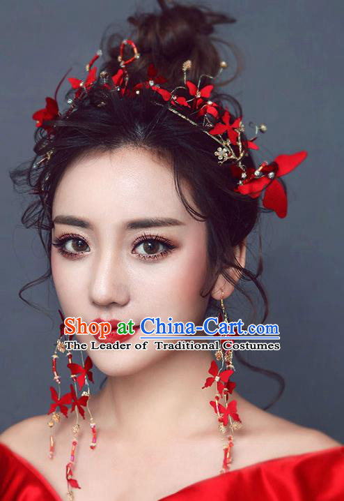 Chinese Traditional Bride Hair Jewelry Accessories Wedding Baroque Retro Red Flowers Hair Clasp for Women