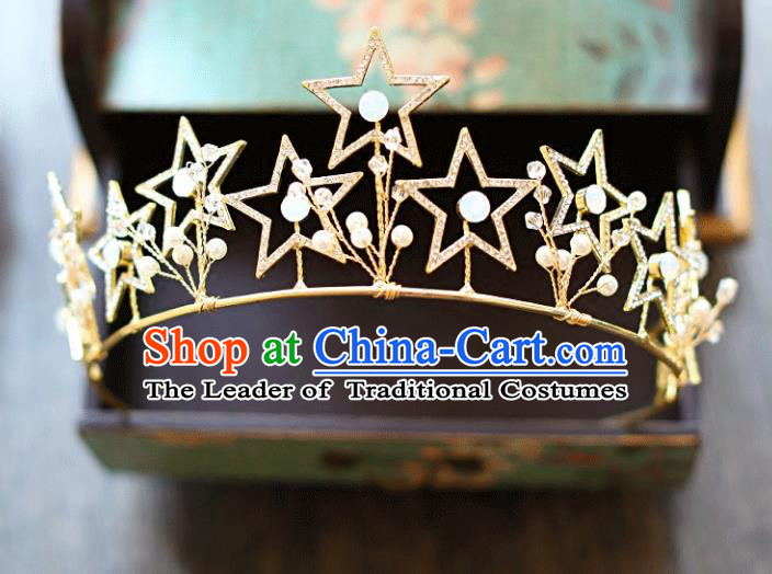 Chinese Traditional Hair Accessories Baroque Bride Hair Clasp Wedding Princess Crystal Star Royal Crown for Women