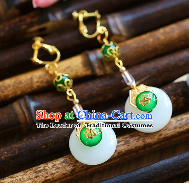 Chinese Traditional Bride Jewelry Accessories Eardrop Princess Wedding Hanfu Green Jade Earrings for Women