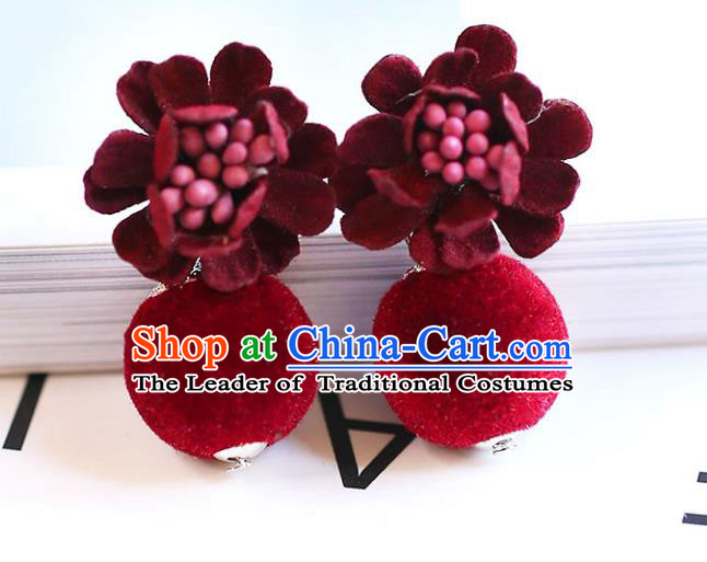Chinese Traditional Bride Jewelry Accessories Eardrop Princess Wedding Red Earrings for Women
