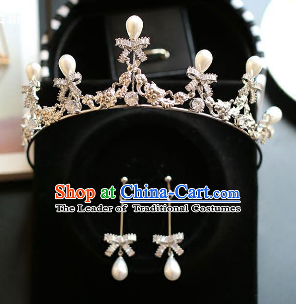 Chinese Traditional Hair Accessories Baroque Queen Hair Clasp Wedding Bride Pearls Royal Crown for Women
