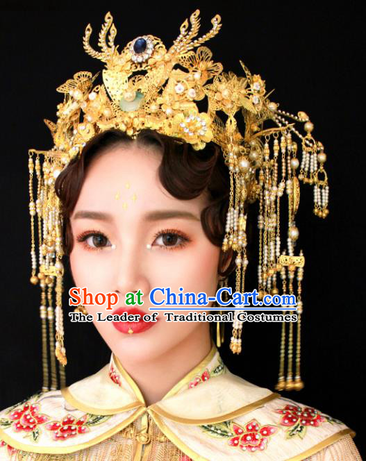 Chinese Traditional Bride Hair Accessories Xiuhe Suit Golden Palace Phoenix Coronet Wedding Hairpins for Women