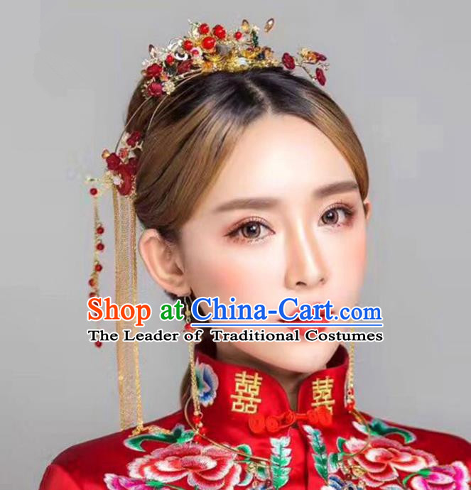 Chinese Traditional Bride Hair Accessories Xiuhe Suit Palace Red Phoenix Coronet Wedding Hairpins for Women