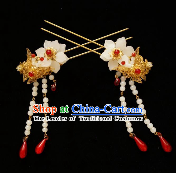 Chinese Traditional Bride Hair Accessories Xiuhe Suit Wedding Tassel Step Shake Hanfu Hairpins for Women