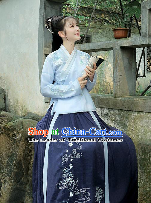 Traditional Chinese Ancient Ming Dynasty Nobility Lady Hanfu Embroidered Clothing for Women