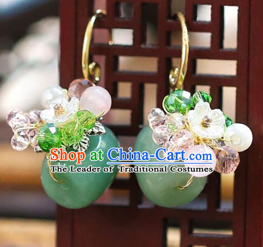 Chinese Traditional Bride Jewelry Accessories Xiuhe Suit Jade Earrings Wedding Eardrop for Women