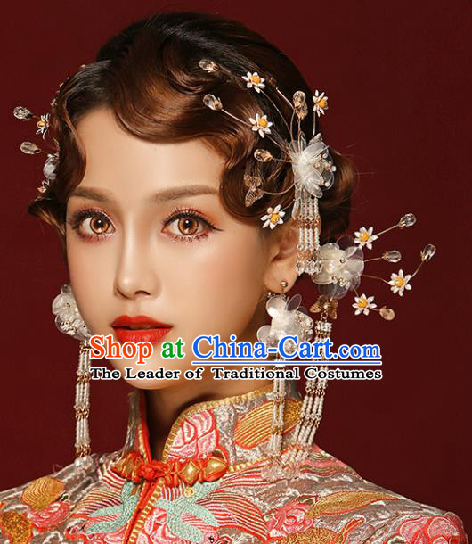 Chinese Traditional Bride Hair Accessories Xiuhe Suit Wedding Flowers Hairpins Complete Set for Women