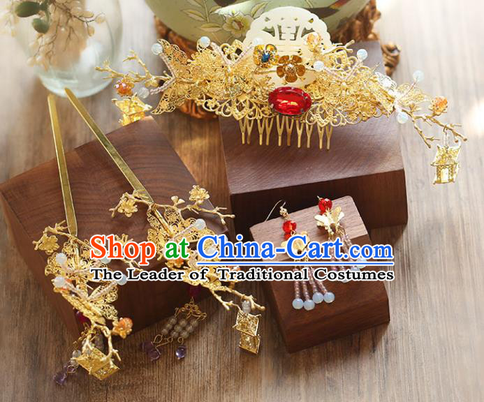 Chinese Traditional Bride Hair Accessories Xiuhe Suit Wedding Flowers Hairpins Hair Comb Complete Set for Women