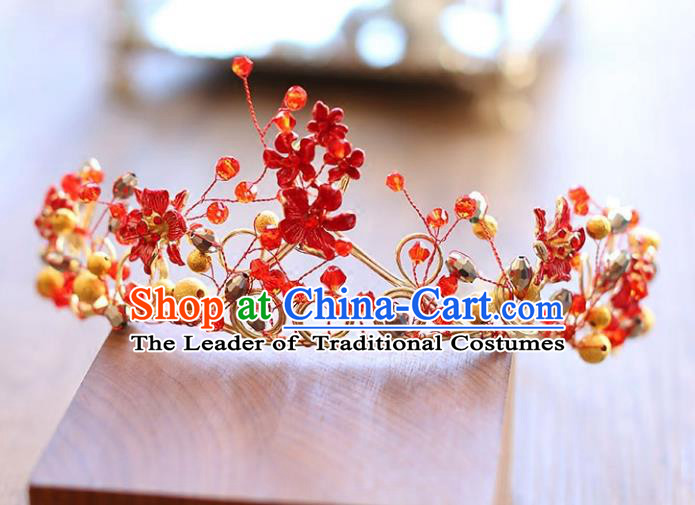 Chinese Traditional Wedding Hair Accessories Baroque Hair Clasp Bride Red Royal Crown for Women