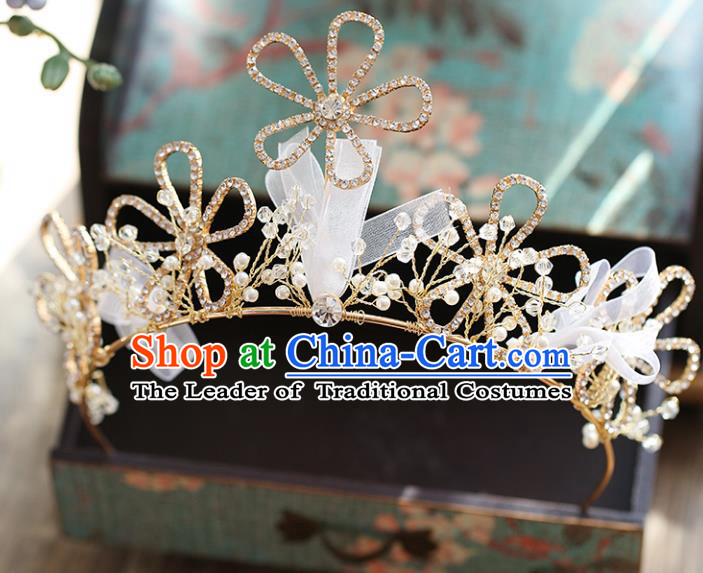 Chinese Traditional Wedding Hair Accessories Baroque Hair Clasp Bride Crystal Flower Royal Crown for Women