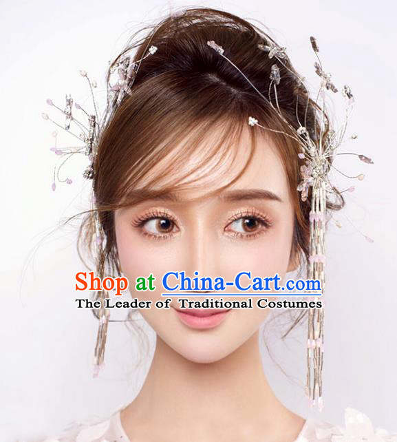 Chinese Traditional Bride Hair Accessories Xiuhe Suit Wedding Tassel Step Shake Hairpins Complete Set for Women