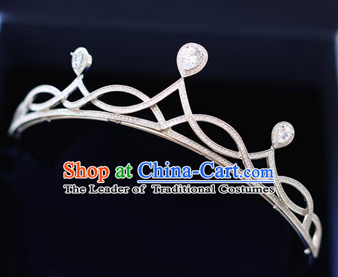 Chinese Traditional Wedding Hair Accessories Baroque Zircon Hair Clasp Bride Crystal Royal Crown for Women