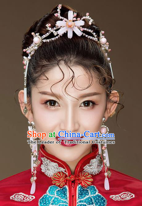 Chinese Traditional Bride Hair Accessories Baroque Wedding Hair Clasp and Earrings for Women