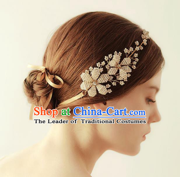 Chinese Traditional Bride Hair Accessories Baroque Princess Wedding Headband Hair Clasp for Women