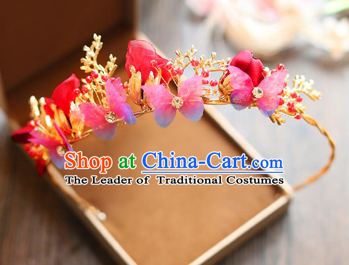 Chinese Traditional Bride Hair Accessories Baroque Princess Wedding Red Flowers Butterfly Hair Clasp for Women