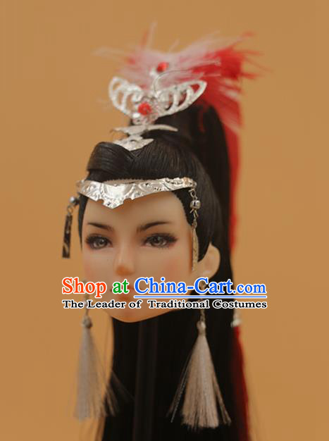 Chinese Traditional Silk Figurine Doll Hair Accessories Hairpins Ancient Swordswoman Headwear