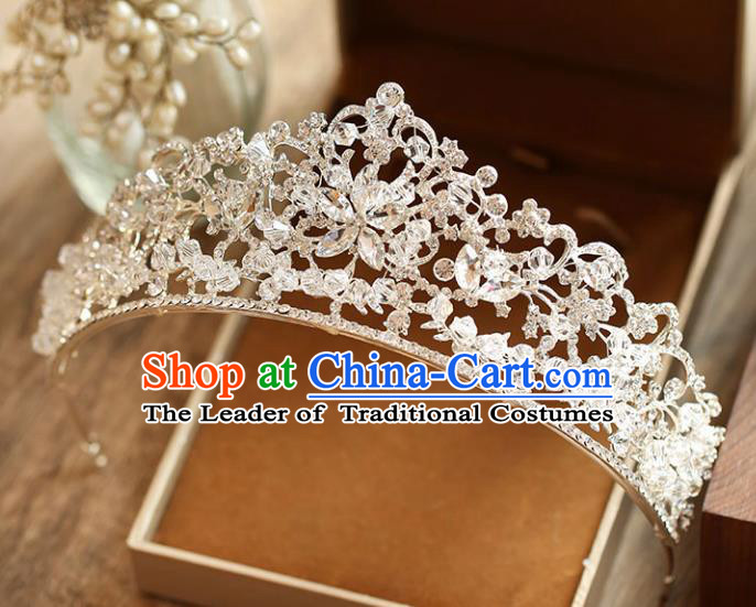 Chinese Traditional Wedding Hair Accessories Baroque Crystal Hair Clasp Bride Royal Crown for Women