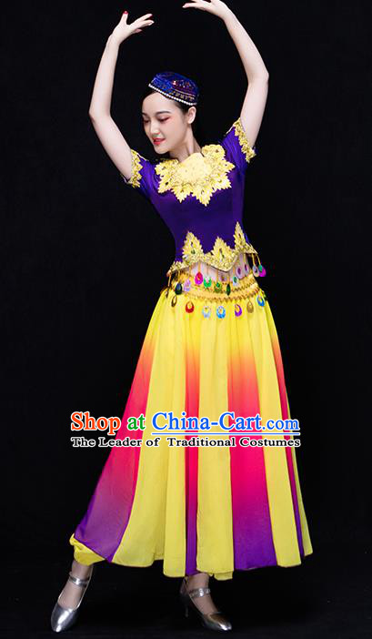 Traditional Chinese Uyghur Nationality Dance Costume, Chinese Uigurian Minority Dance Clothing for Women