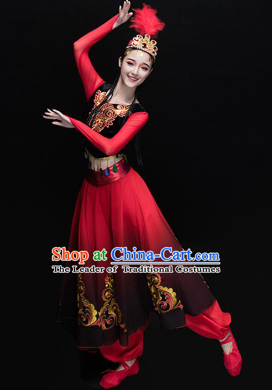 Traditional Chinese Uyghur Nationality Dance Costume, Chinese Uigurian Minority Dance Red Clothing for Women