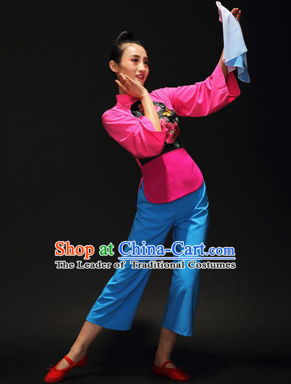 Traditional Chinese Classical Umbrella Dance Embroidered Costume, China Yangko Dance Clothing for Women