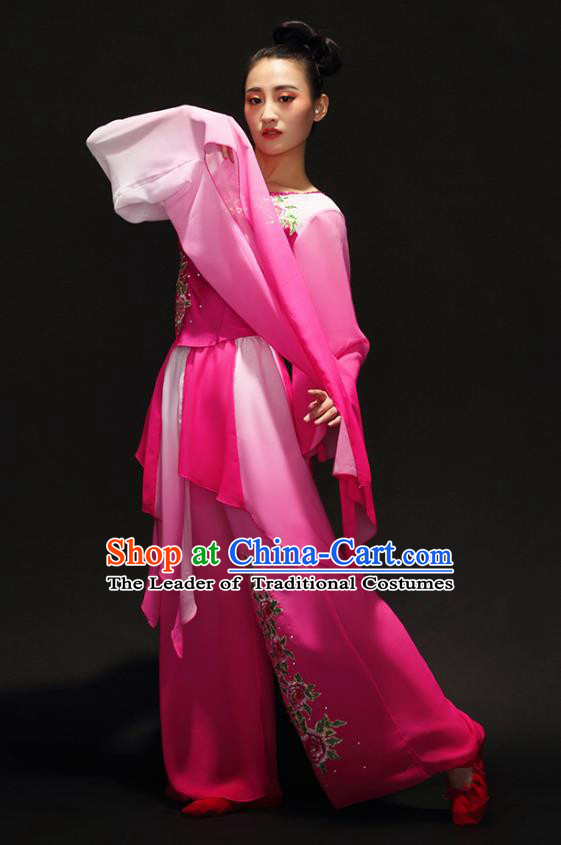 Traditional Chinese Classical Dance Umbrella Dance Water Sleeve Costume, China Folk Dance Yangko Clothing for Women