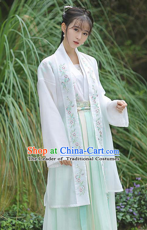 Traditional Chinese Ming Dynasty Young Lady Hanfu Embroidered Costume for Women