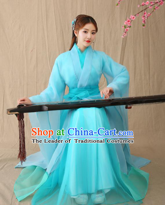 Traditional Chinese Han Dynasty Palace Lady Hanfu Costume, China Ancient Princess Embroidered Clothing for Women