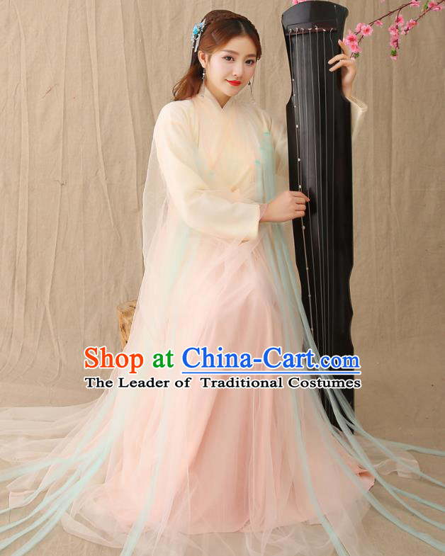 Traditional Chinese Han Dynasty Princess Hanfu Costume, China Ancient Fairy Embroidered Clothing for Women