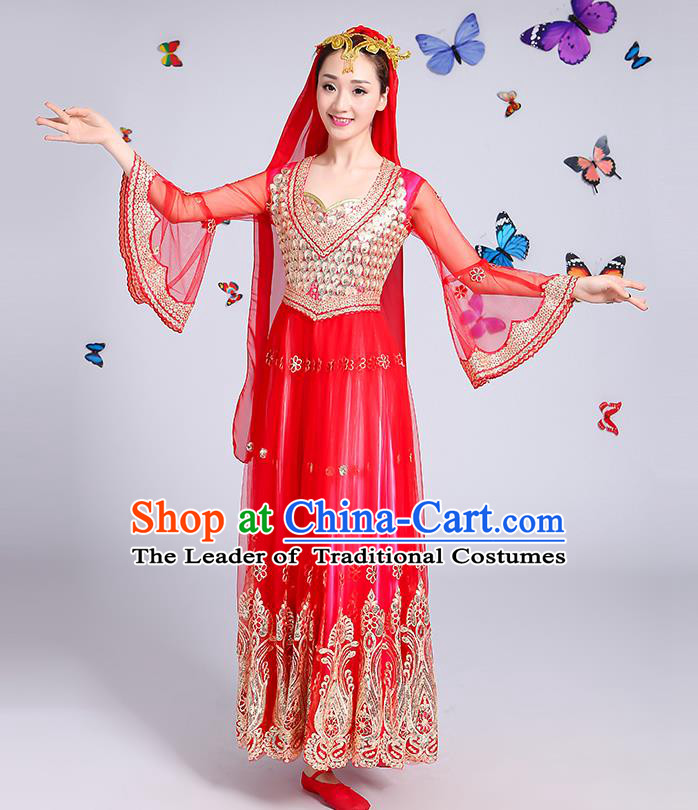 Traditional Chinese Uyghur Nationality Dance Costume, Chinese Uigurian Minority Dance Red Dress Clothing for Women