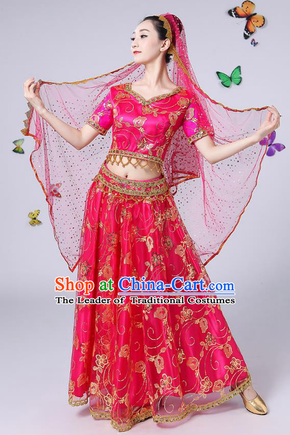 Traditional Chinese Uyghur Nationality Dance Costume, Chinese Uigurian Minority Nationality Dance Rosy Clothing for Women