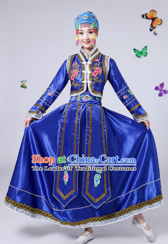 Traditional Chinese Mongol Nationality Dance Costume, China Folk Dance Mongolian Minority Embroidery Blue Dress for Women