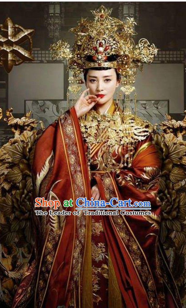 Chinese Ancient Empress Embroidered Phoenix Wedding Dresses