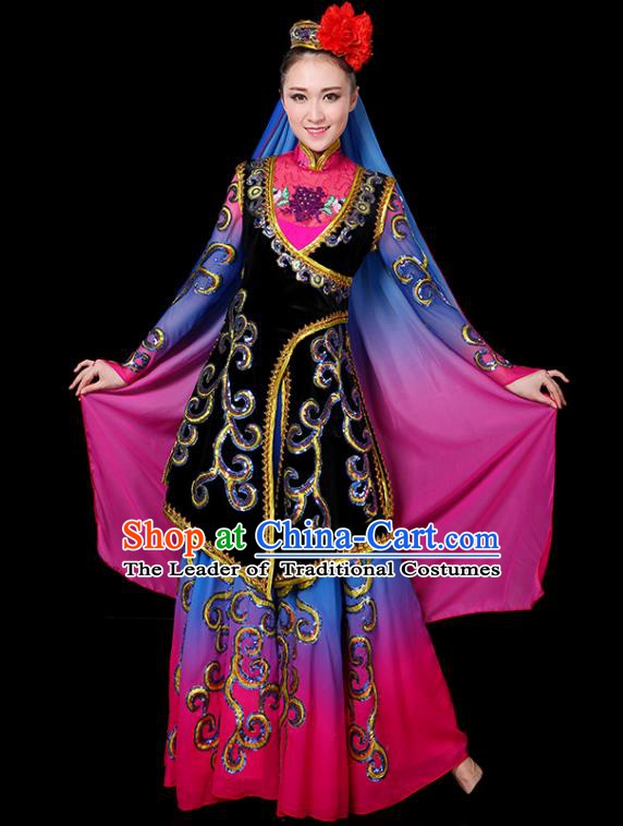 Traditional Chinese Uyghur Nationality Folk Dance Costume, Chinese Uigurian Minority Dance Clothing for Women