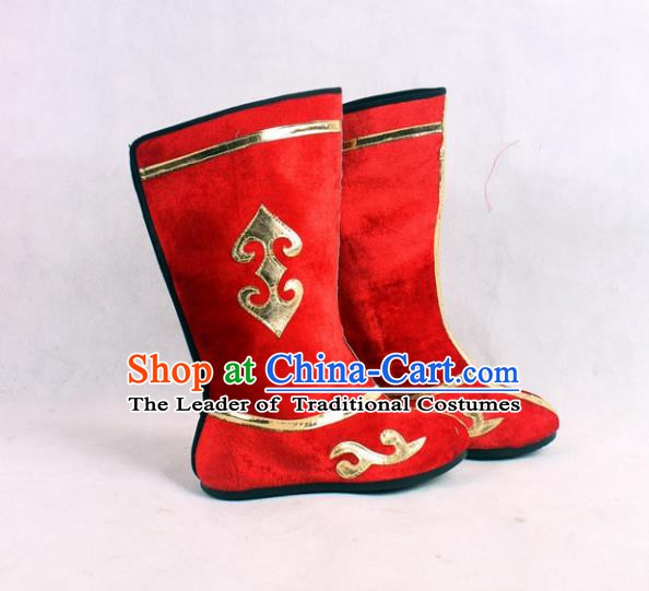 Asian Chinese Beijing Opera Embroidered Red Boots, Traditional China Peking Opera General Hanfu Shoes