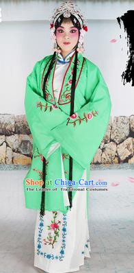 Chinese Beijing Opera Actress Costume Green Embroidered Cape, Traditional China Peking Opera Diva Embroidery Clothing
